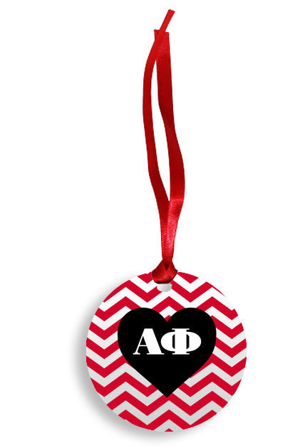 Alpha Phi Red Chevron Heart Sunburst Ornament