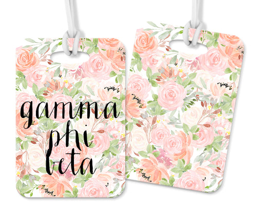 Gamma Phi Beta Pink Floral Luggage Tag