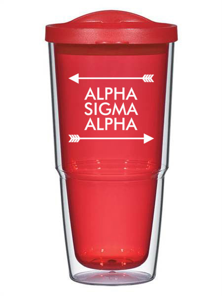 Alpha Sigma Alpha Arrow Top Bottom 24oz Tumbler with Lid
