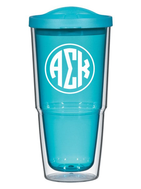 Alpha Sigma Kappa Circle Arrows 24 oz Tumbler with Lid