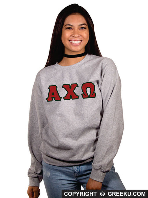 Sorority Classic Colors Sewn-On Letter Crewneck