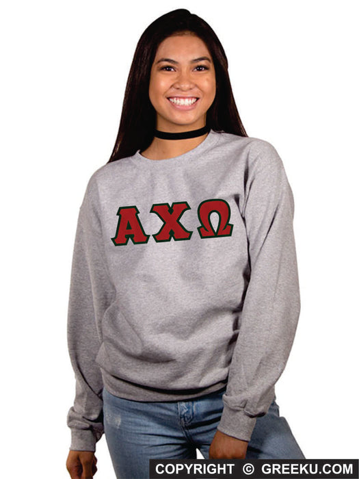 Alpha Chi Omega Classic Colors Sewn-On Letter Crewneck