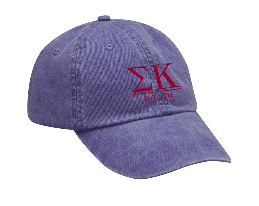 Sigma Kappa Letters Year Embroidered Hat