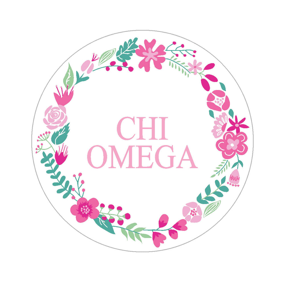 Chi Omega Floral Wreath Sticker