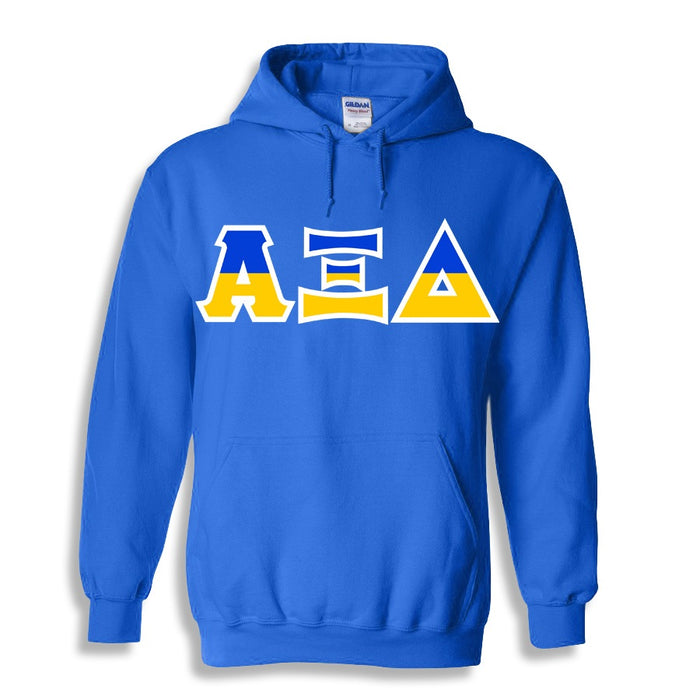Alpha Xi Delta Two Toned Lettered Hooded Sweatshirt