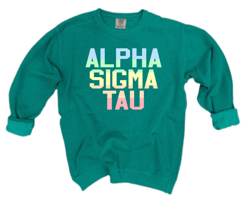 Alpha Sigma Tau Comfort Colors Pastel Sorority Sweatshirt