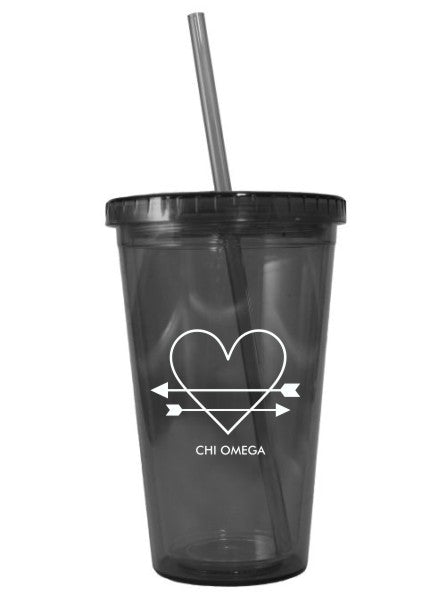 Chi Omega Heart Arrow Name 16oz Acrylic Tumbler