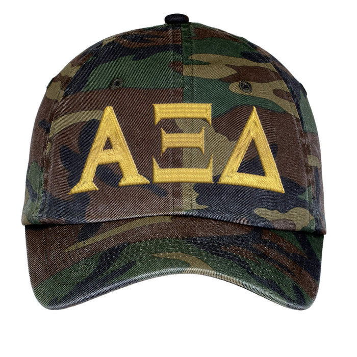 Alpha Xi Delta Letters Embroidered Camouflage Hat