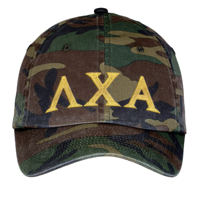 Lambda Chi Alpha Letters Embroidered Camouflage Hat