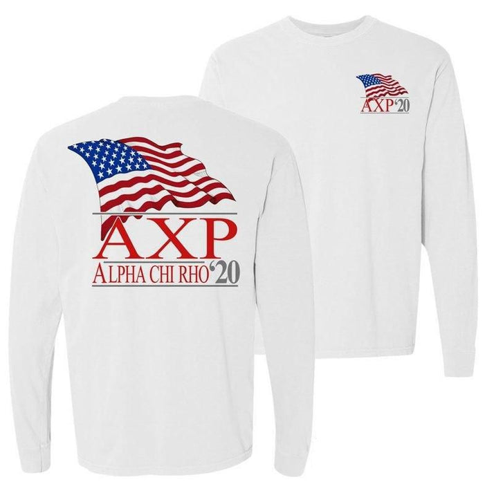 Alpha Chi Rho Patriot Flag Comfort Colors Long Tee