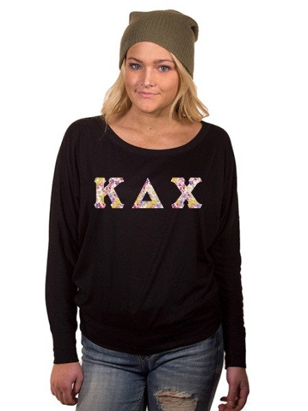 Kappa Delta Chi Off the Shoulder Flowy Long Sleeve Shirt with Letters