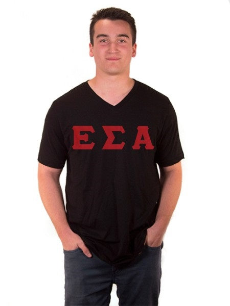 Epsilon Sigma Alpha V-Neck T-Shirt with Sewn-On Letters