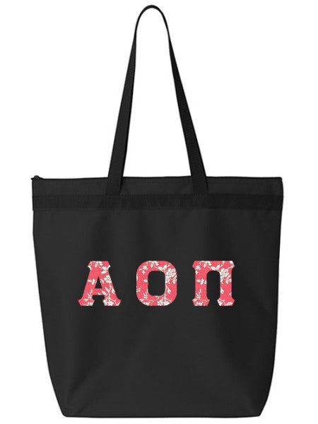 Alpha Omicron Pi Large Zippered Tote Bag with Sewn-On Letters