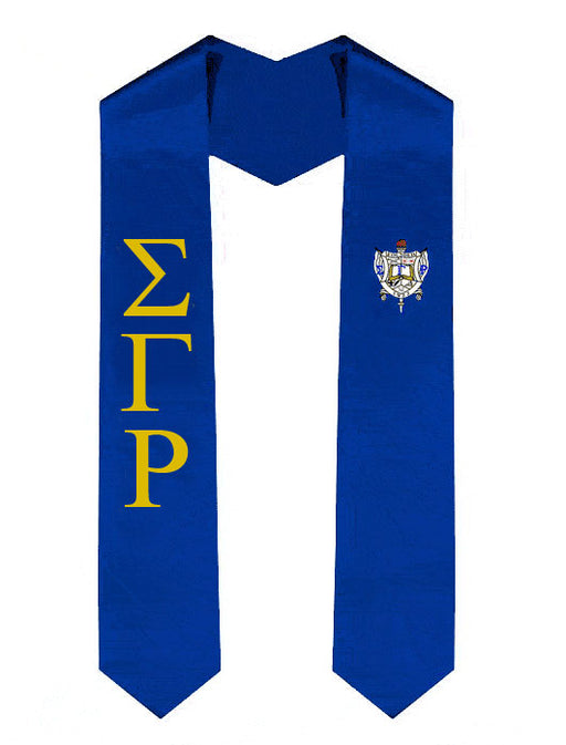 Sigma Gamma Rho Lettered Graduation Sash Stole with Crest