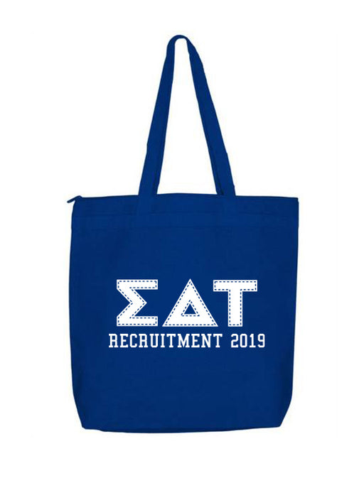 SDT Sigma Delta Tau Pineapple Tote Sorority Gift Sorority Tote Choose Your Colors!
