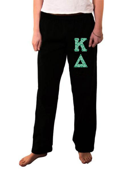 Kappa Delta Open Bottom Sweatpants with Sewn-On Letters