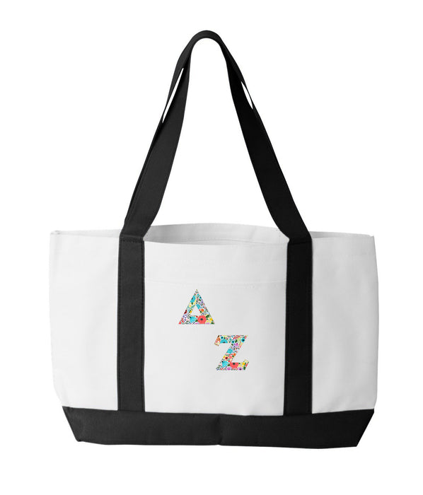 Delta Zeta 2-Tone Boat Tote with Sewn-On Letters