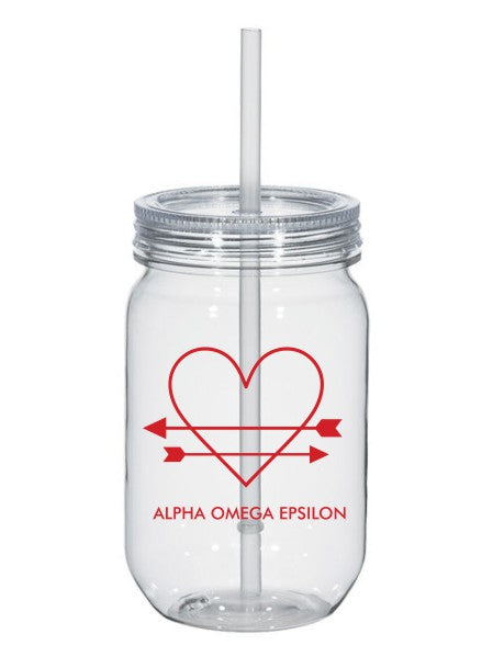 Alpha Omega Epsilon Heart Arrows Name 25oz Mason Jar