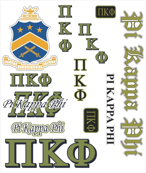 Pi Kappa Phi Multi Greek Decal Sticker Sheet