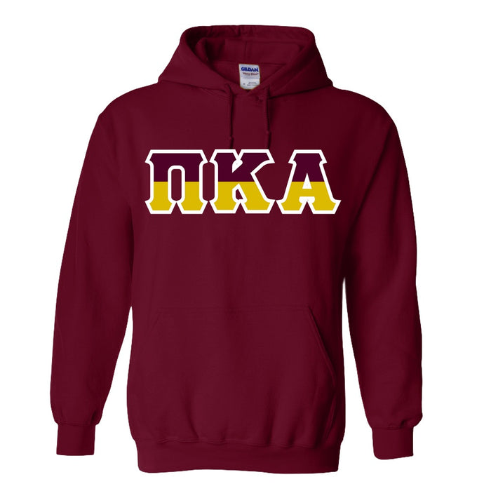 Pi Kappa Alpha Two Toned Lettered Hooded Sweatshirt