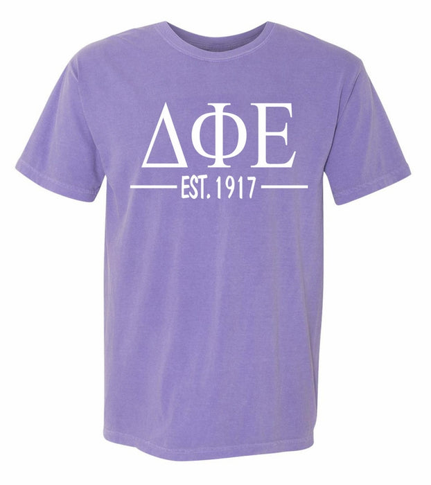 Delta Phi Epsilon Comfort Colors Established Sorority T-Shirt