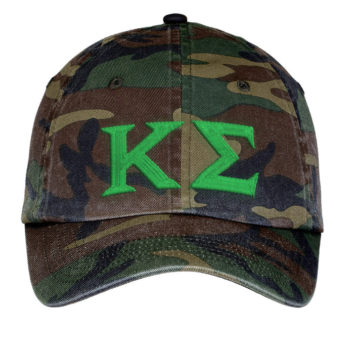 Kappa Sigma Letters Embroidered Camouflage Hat