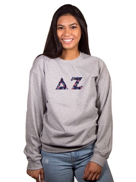 Delta Zeta Crewneck Sweatshirt with Sewn-On Letters