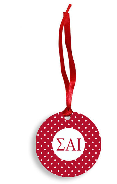 Sigma Alpha Iota Red Polka Dots Sunburst Ornament