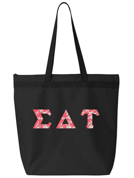 Sigma Delta Tau Large Zippered Tote Bag with Sewn-On Letters