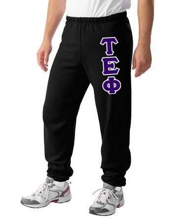Tau Epsilon Phi Sweatpants with Sewn-On Letters