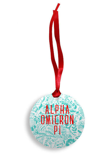 Alpha Omicron Pi Floral Pattern Sunburst Ornament