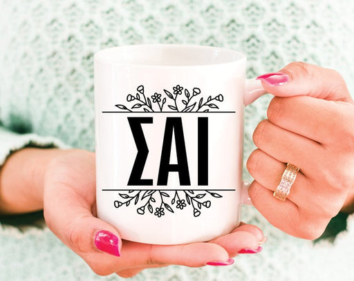 Sigma Alpha Iota Greek Letters Floral Coffee Mug