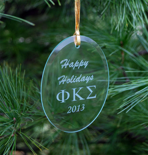 Phi Kappa Sigma Engraved Glass Ornament
