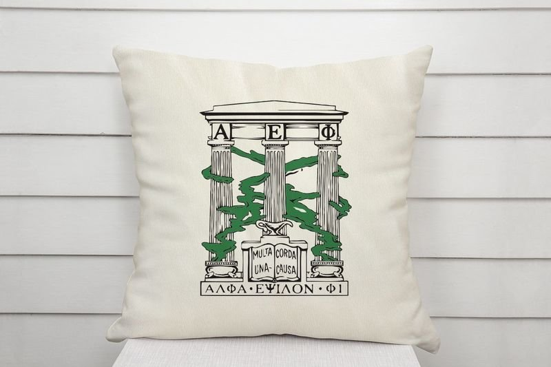 Alpha Epsilon Phi Linen Shield Throw Pillow