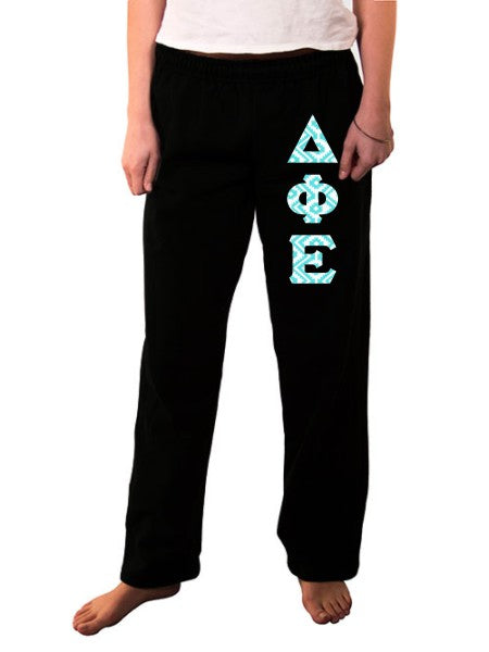 Delta Phi Epsilon Open Bottom Sweatpants with Sewn-On Letters