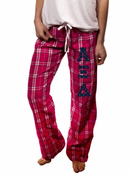 Alpha Xi Delta Pajama Pants with Sewn-On Letters
