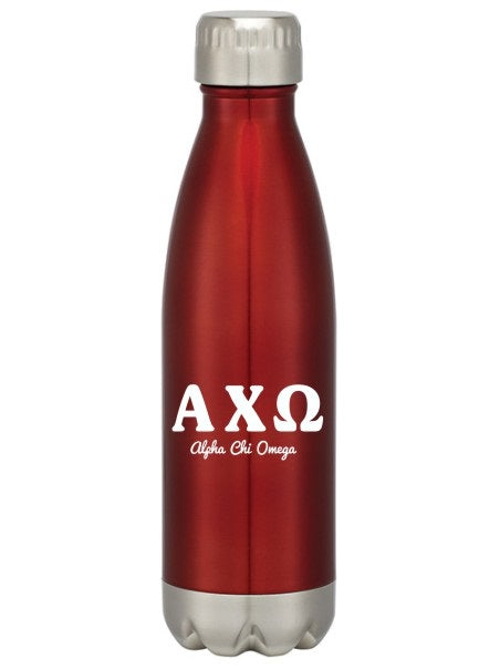 Alpha Chi Omega Letters Layered Swig Bottle