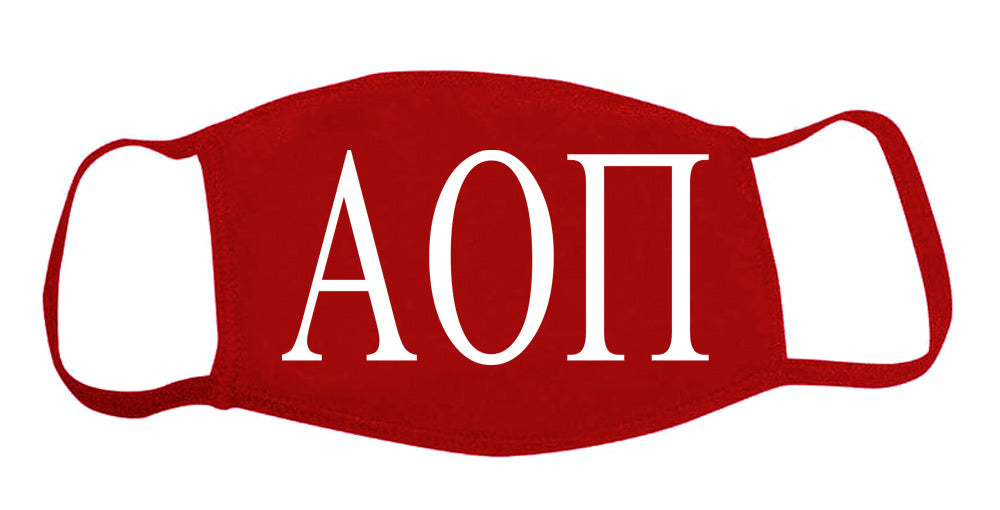 Alpha Omicron Pi Face Mask With Big Greek Letters