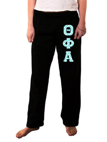 Theta Phi Alpha Open Bottom Sweatpants with Sewn-On Letters