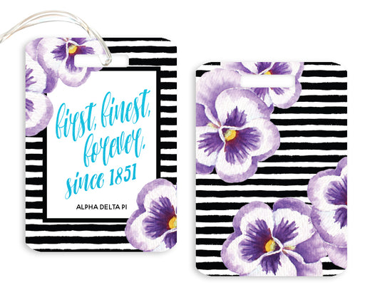 Alpha Delta Pi Floral Motto Luggage Tag
