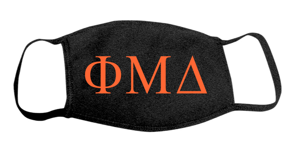 Phi Mu Delta Face Mask With Big Greek Letters
