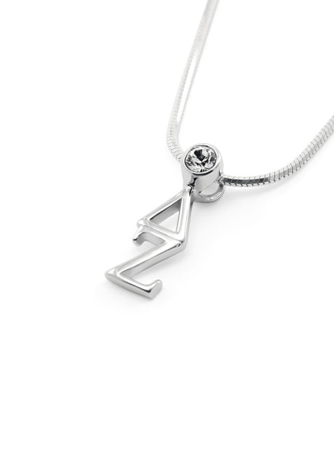 Delta Zeta Sterling Silver Lavaliere Pendant with Clear Swarovski Crystal