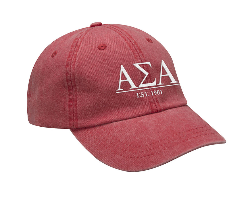 Alpha Sigma Alpha Letters Year Embroidered Hat