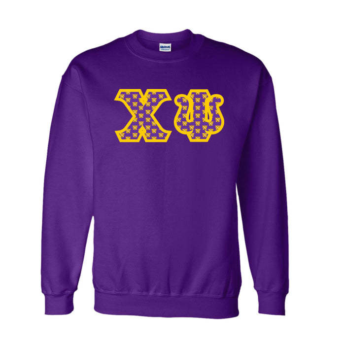 Chi Psi Classic Colors Sewn-On Letter Crewneck