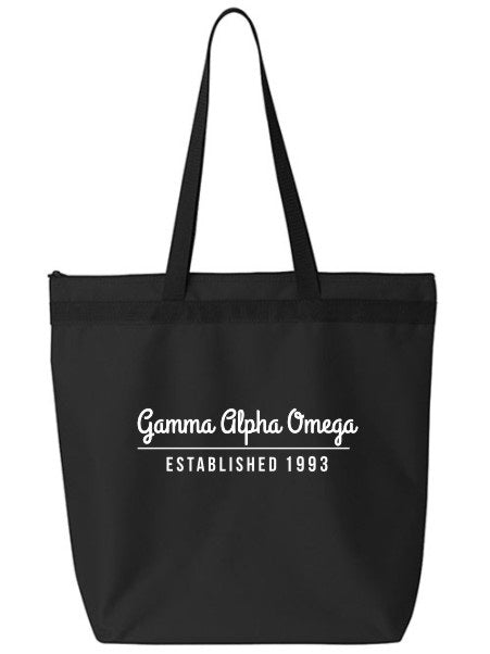 Gamma Alpha Omega Year Established Tote Bag