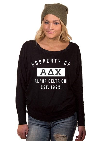 Alpha Delta Chi Property of Flowy Long Sleeve Off Shoulder Tee