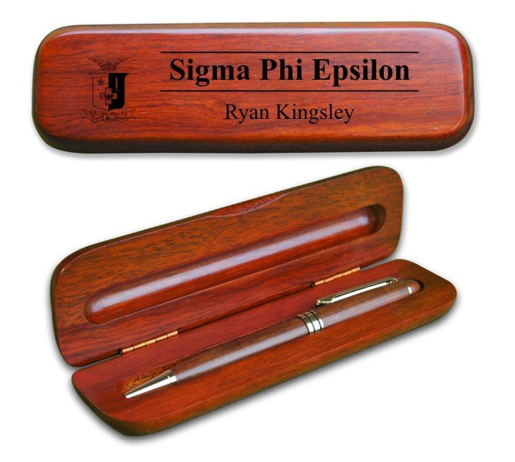 Sigma Phi Epsilon Wooden Pen Case & Pen