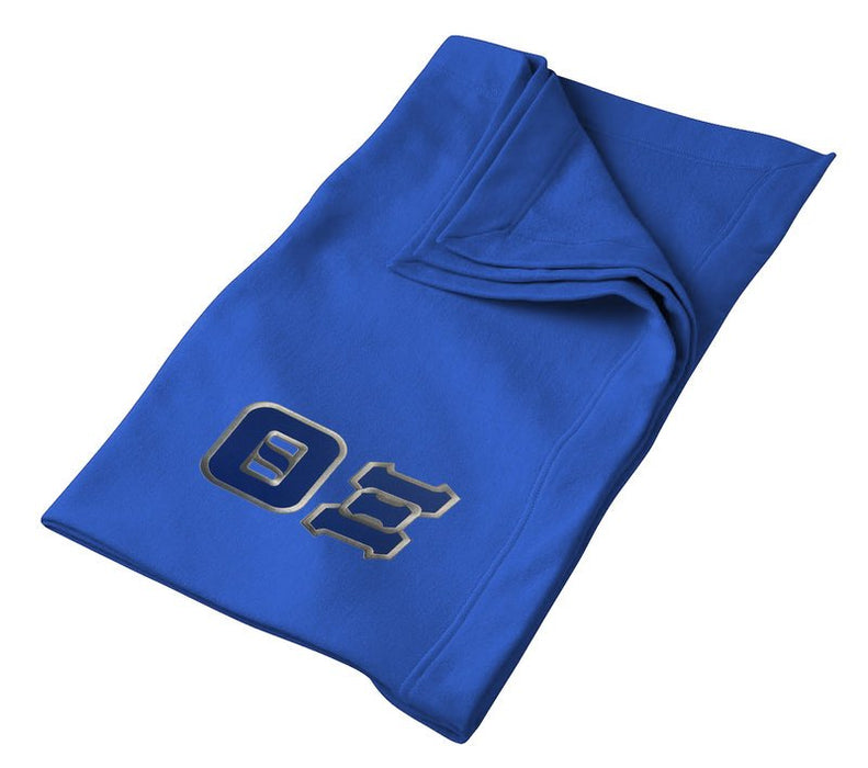 Theta Xi Greek Twill Lettered Sweatshirt Blanket