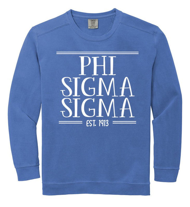 Phi Sigma Sigma Comfort Colors Custom Sorority Sweatshirt