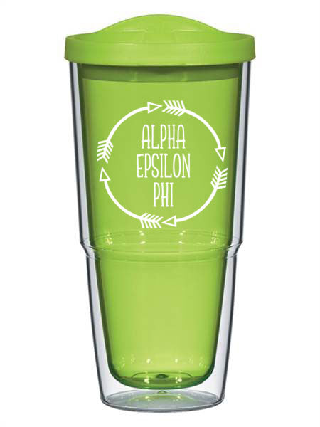 Alpha Epsilon Phi Circle Arrows 24 oz Tumbler with Lid
